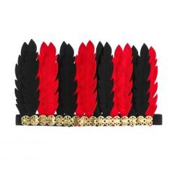 Индейский головной убор красно-чёрный (фетр) 15*24см