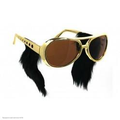 Очки Элвиса Пресли с бакенбардами, золотые