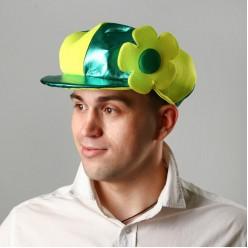 Кепка Клоуна с цветком жёлто-зелёная