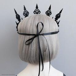 Корона-повязка на голову, чёрные кружевные цветы
