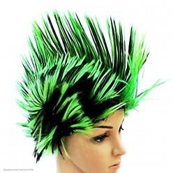 """Парик """"Ирокез"""" чёрно-зелёный"""