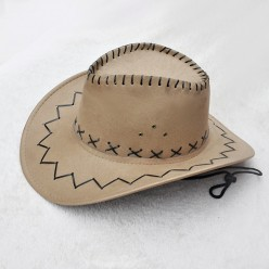 Шляпа Ковбоя бежевая (под замшу)
