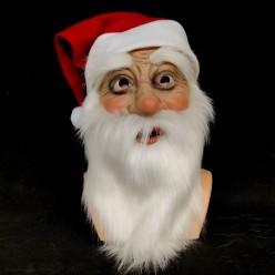 Маска латекс Санта Клаус с бородой  в колпаке (латекс)