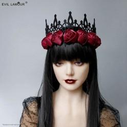 Корона-повязка на голову чёная, бордовые атласные розы