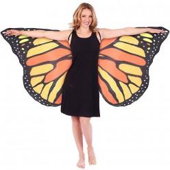 Крылья Бабочки 142*67см жёлто-оранжевые, ткань