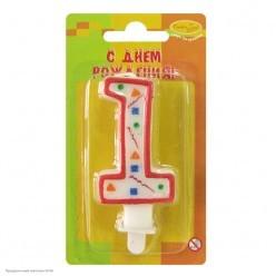 Свеча-цифра 1 Красное конфетти