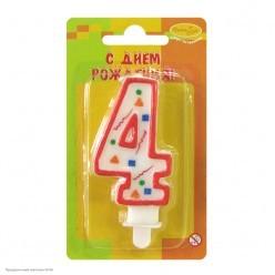 Свеча-цифра 4 Красное конфетти
