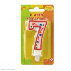Свеча-цифра 7 Красное конфетти