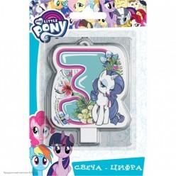 Свеча-цифра 3 My Little Pony, 8см