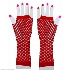 Перчатки Сеточка без пальцев (до локтя) красные