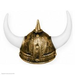Шлем Викинга золотой, большие рога (пластик)