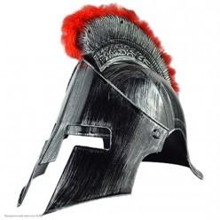 Шлем Спартанца под серебро,  с пухом (пластик)