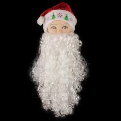 Борода Деда Мороза 50см (волнистая) 110гр, на сетке