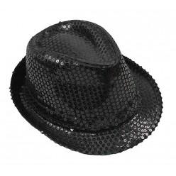 Шляпа Стиляги пайетки чёрная р.58