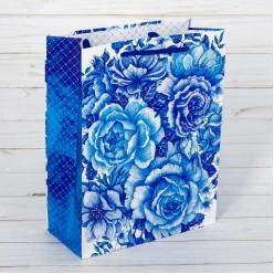 "Пакет L 31*40*9см ""Синие цветы"""