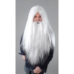 """Парик """"Волшебник"""" с бородой (белый)"""
