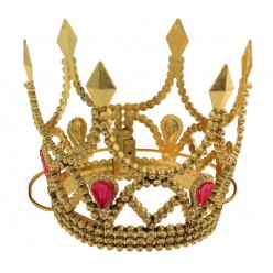 Мини корона золотая (пластик) на резинке