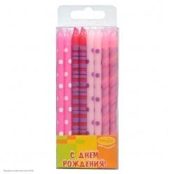 Свечи для торта Ассорти розовое 12см (16шт)