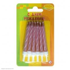 Свечи для торта Перламутр розовые 6см (12шт)