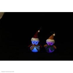 Снеговик светящийся 17*11*7см (полимер, текстиль)