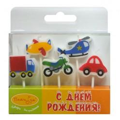 """Свечи-фигурки для торта """"Машинки"""" 7см, 5шт"""