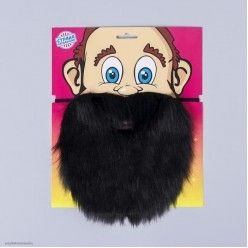 Борода Чёрная прямая 20*17см (на резинке)