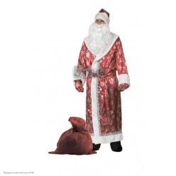 """Костюм взрослый """"Дед Мороз сатин"""" (красный)"""