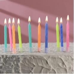 """Свечи для торта """"Неон"""" жёлтые 10 шт, 7см"""
