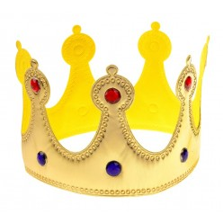 Корона королевская золотая со стразами (мягкая)