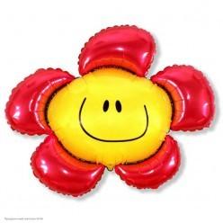 Шар фольга Цветок смайл красный 88*104см