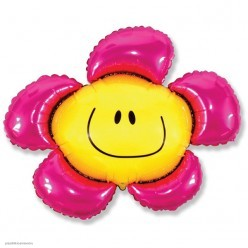 Шар фольга Цветок смайл розовый 88*104см