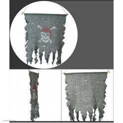 Флаг-баннер Пиратский (мешковина) 50*40 см