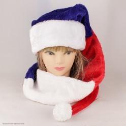 Колпак Деда Мороза супердлинный 150*29см триколор (мех)