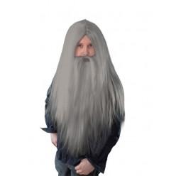 """Парик """"Волшебник"""" с бородой (серый)"""