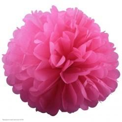 Помпон бумажный 35 см розовый тёмный
