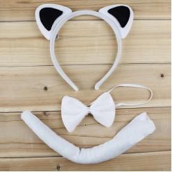 Набор Кошки (уши, бабочка, хвост) бело-чёрный