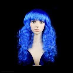 Парик Локоны с чёлкой, 55 см (синий)