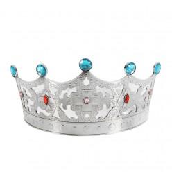 Корона королевская серебряная (пластик) 63*12см