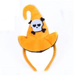 Колпачок Ведьмы на ободке (велюр) оранжевый