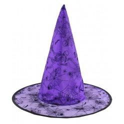 """Колпак Ведьмы рисунок """"Паутина"""" фиолетовый (органза)"""