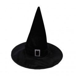 Колпак Ведьмы чёрный с пряжкой (велюр)