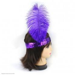 Повязка на голову Кабаре пайетки (фиолетовая)