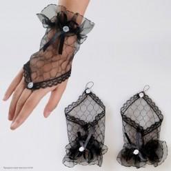 Перчатки Гипюр Митенки Мини (кисть) 17см чёрные