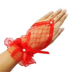 Перчатки Гипюр Митенки Мини (кисть) 17см красные