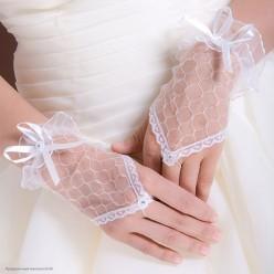 Перчатки Гипюр Митенки Мини (кисть) 17см белые