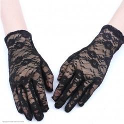 Перчатки Гипюр Мини (кисть) 21см чёрные