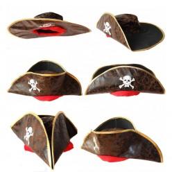 Треуголка Бывалого пирата коричневая (кожзам)