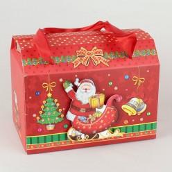 Коробка подарочная НГ 15*12*9см объём/блёстки