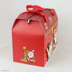 Коробка подарочная НГ 19,5*17*12см объём/блёстки