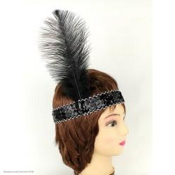 Повязка на голову Кабаре пайетки (чёрная)